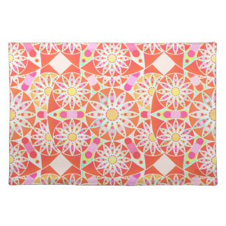 Mandala pattern, coral red, pink, gold place mats