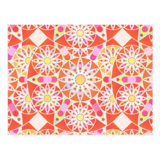 Mandala pattern, coral red, pink, gold post cards