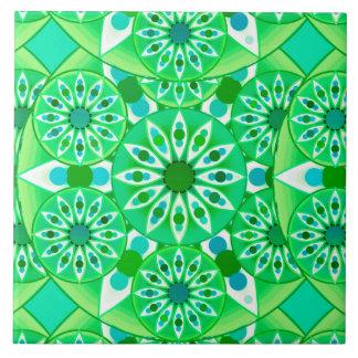 Mandala pattern, Emerald green and peacock Large Square Tile