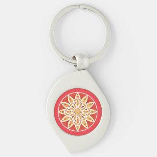 Mandala pattern in camel, dark red and white keychain