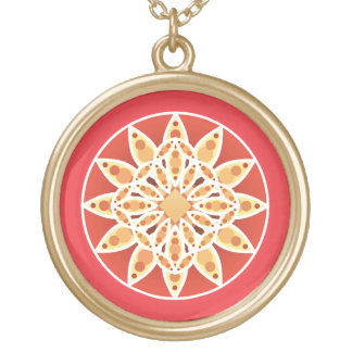 Mandala pattern in camel, dark red and white round pendant necklace