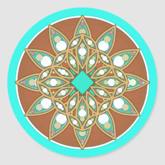 Mandala pattern in chocolate, tan and turquoise stickers