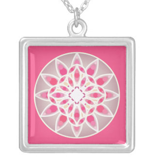 Mandala pattern in hot pink, white and gray jewelry