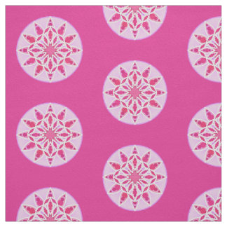 Mandala pattern in pink, fuchsia and white fabric