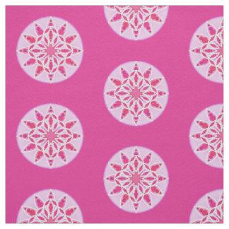 Mandala pattern in pink, fuchsia and white fabric