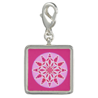 Mandala pattern in pink,  fuchsia and white photo charms