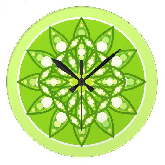 Mandala pattern in shades of lime green clock