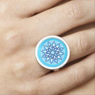 Mandala pattern in turquoise cobalt white photo rings