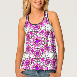 Mandala pattern, lavender, pink, hot pink, white tank top