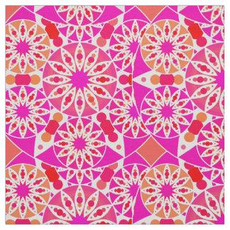 Mandala pattern, shades of pink and coral fabric