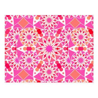 Mandala pattern, shades of pink and coral postcard