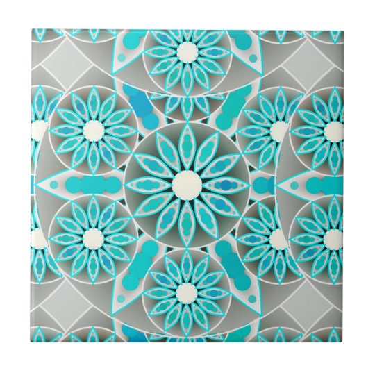 Mandala pattern, turquoise, silver grey and white tile