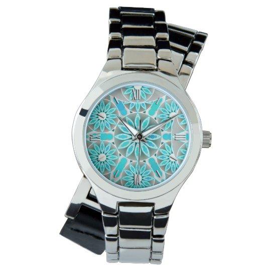 Mandala pattern, turquoise, silver grey and white watch