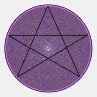 Mandala Pentagram Classic Round Sticker