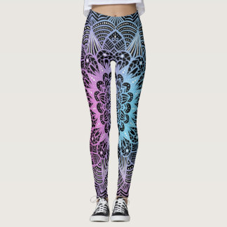 Mandala pink blue leggings