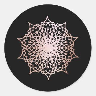 Mandala Pink Rose Gold Blush Black Round Sticker