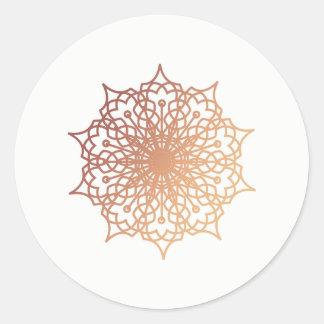 Mandala Pink Rose Gold Blush Round Sticker