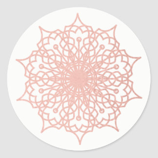 Mandala Pink Rose Gold Blush Round Sticker