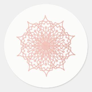 Mandala Pink Rose Gold Blush Version 2 Round Sticker