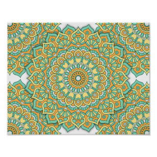 Mandala Poster - Green/Yellow