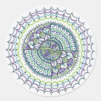 Mandala Round Sticker - Peacock inspired