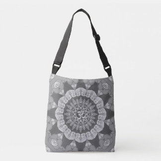 Mandala shades of gray yoga namaste boho tote bag