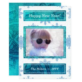 Mandala Snowflakes White Blue Happy New Year Photo Card