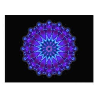 Mandala star in blue   black postcard