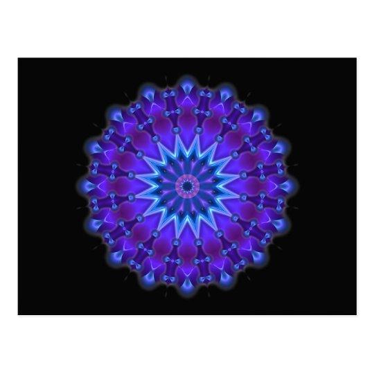 Mandala star in blue | black postcard