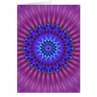 Mandala star in blue | magenta flower card