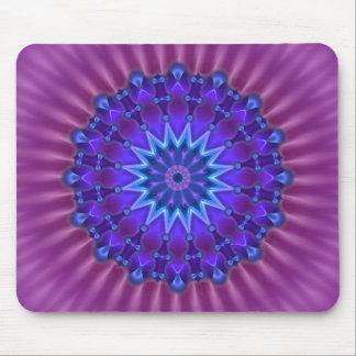 Mandala star in blue | magenta flower mouse pad