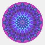 Mandala star in blue   magenta round sticker