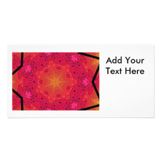 Mandala Star in Pink Orange and Yellow Picture Card