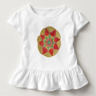 Mandala Star Toddler Ruffle Tee, White Toddler T-Shirt