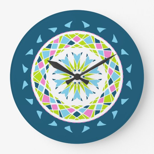 Mandala style blue, pink and green large clock
