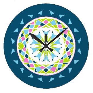 Mandala style blue, pink and green wallclocks