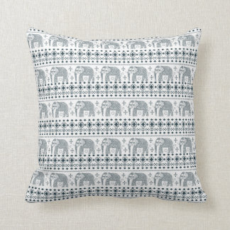 Mandala Style Indian Elephant Throw Pillow