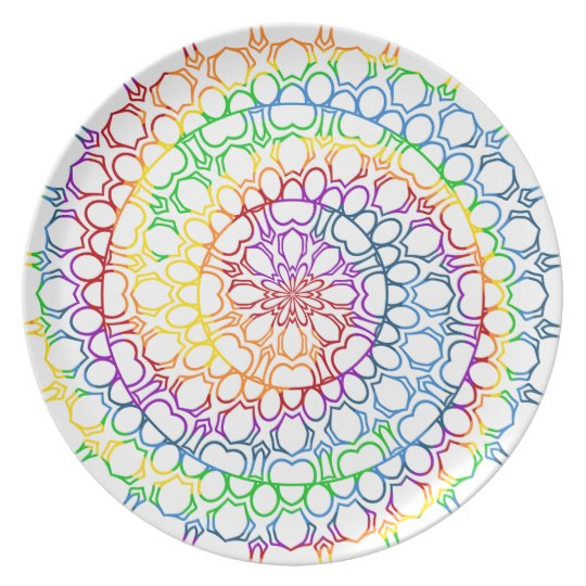 Mandala Swirled with Circles and Rainbow Colours Plate