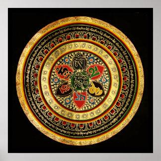 Mandala Syllable Mantra OM MANI PADME HUM Poster