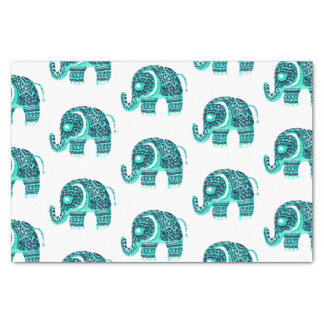 Mandala teal watercolor floral henna cute elephant tissue paper