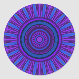Mandala with purples and blue teals. Stickers. Round Sticker