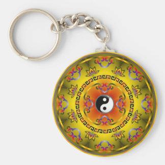 mandala yin yang key ring