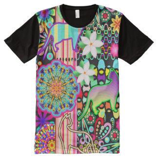 Mandalas, Cats & Flowers Fantasy Pattern All-Over Print T-Shirt