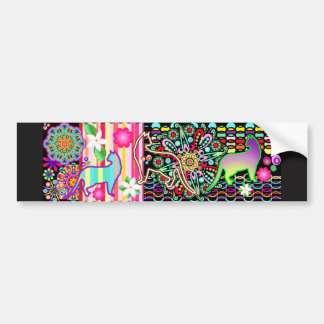 Mandalas, Cats & Flowers Fantasy Pattern Bumper Sticker