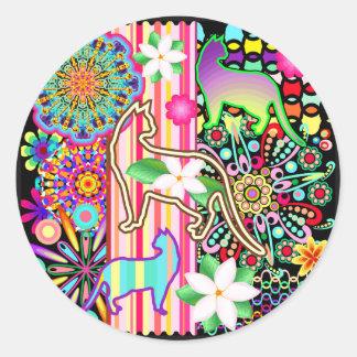 Mandalas, Cats & Flowers Fantasy Pattern Classic Round Sticker