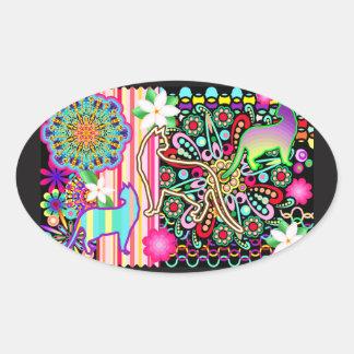 Mandalas, Cats & Flowers Fantasy Pattern Oval Sticker