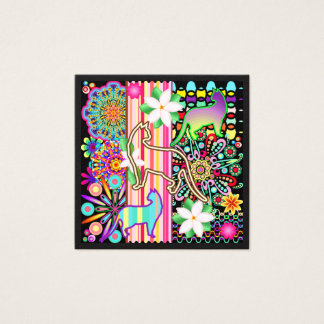 Mandalas, Cats & Flowers Fantasy Pattern Square Business Card