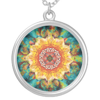Mandalas from the Heart of Surrender, No. 4, Neckl Round Pendant Necklace