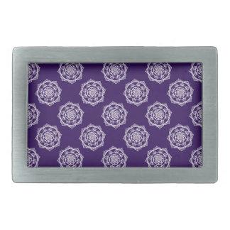 Mandalas on Purple Rectangular Belt Buckle