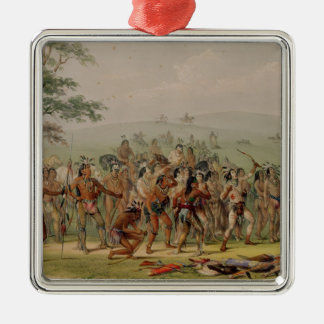 Mandan Archery Contest, c.1832 Silver-Colored Square Decoration